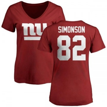 Women's Scott Simonson New York Giants Name & Number Logo Slim Fit T-Shirt - Red