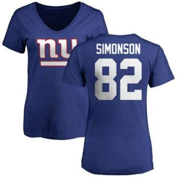 Women's Scott Simonson New York Giants Name & Number Logo Slim Fit T-Shirt - Royal