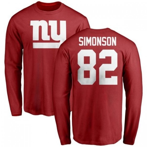 Youth Scott Simonson New York Giants Name & Number Logo Long Sleeve T-Shirt - Red