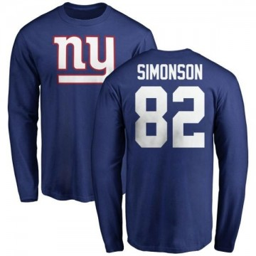 Youth Scott Simonson New York Giants Name & Number Logo Long Sleeve T-Shirt - Royal